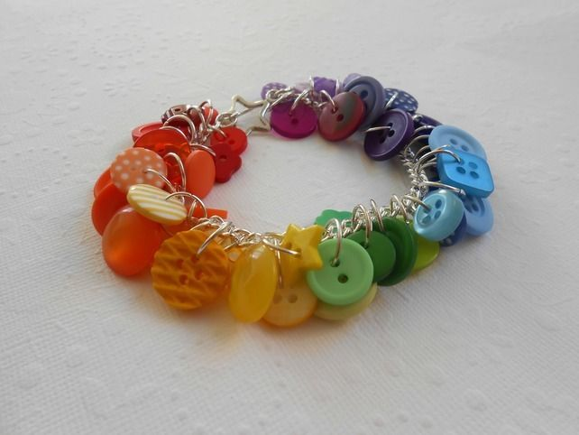 rainbow button bracelet £12.00
