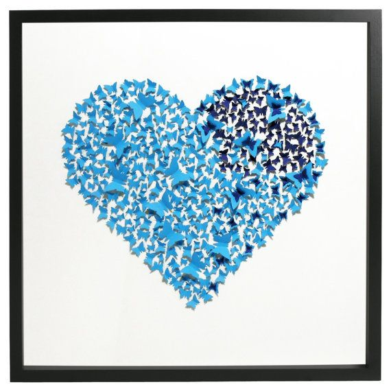 Butterfly 3D light and dark blue heart on glow by CreativityWings