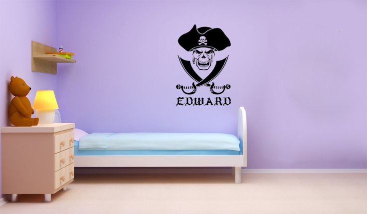 Goedkope gepersonaliseerde naam piraat schedel kruis zwaarden woonkamer slaapkamer decoratie behang kinderkamer muursticker, koop Kwaliteit muurstickers rechtstreeks van Leveranciers van China:
