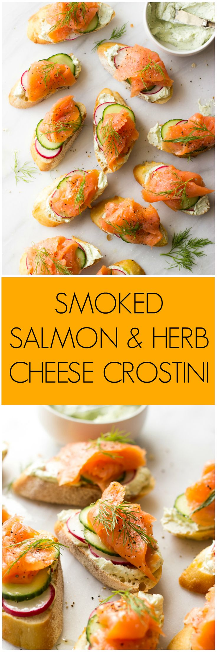 Smoked Salmon and Herb Cheese Crostini - easy and elegant appetizer to add to your holiday table! | littlebroken.com @littlebroken