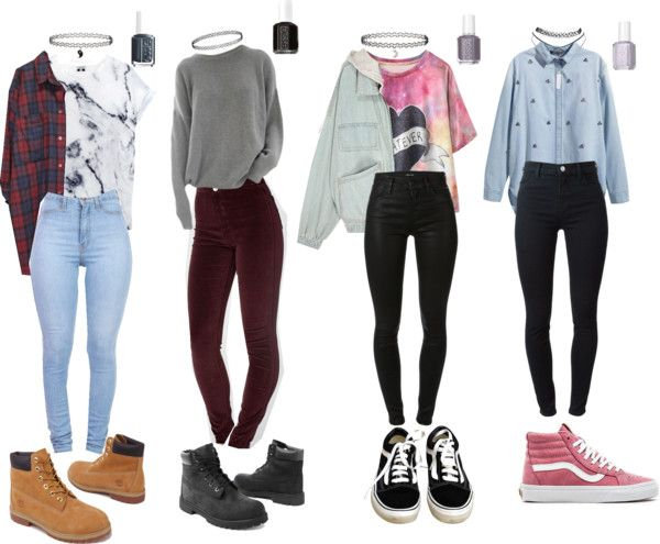 90s Grunge school outfits by stellaluna899 on Polyvore featuring H&M, American Apparel, J Brand, Monki, Vans, Timberland, Wet Seal, Miss Selfridge, Topshop and Essie