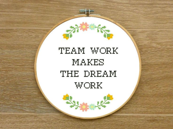 QUOTE ----------------------------------------- TEAM WORK MAKES THE DREAM WORK DESCRIPTION ------------------------------------------ The listing is for the PATTERN. The Power of Teamwork is Boundless! Celebrate your collaboration with this lovely handmade thing as a gift! The quote itself is in black. It has floral embroidery with flowers below and above. Nice and super easy project to add something special to your office or make a unique funny cross stitch gift to your coworkers or ...