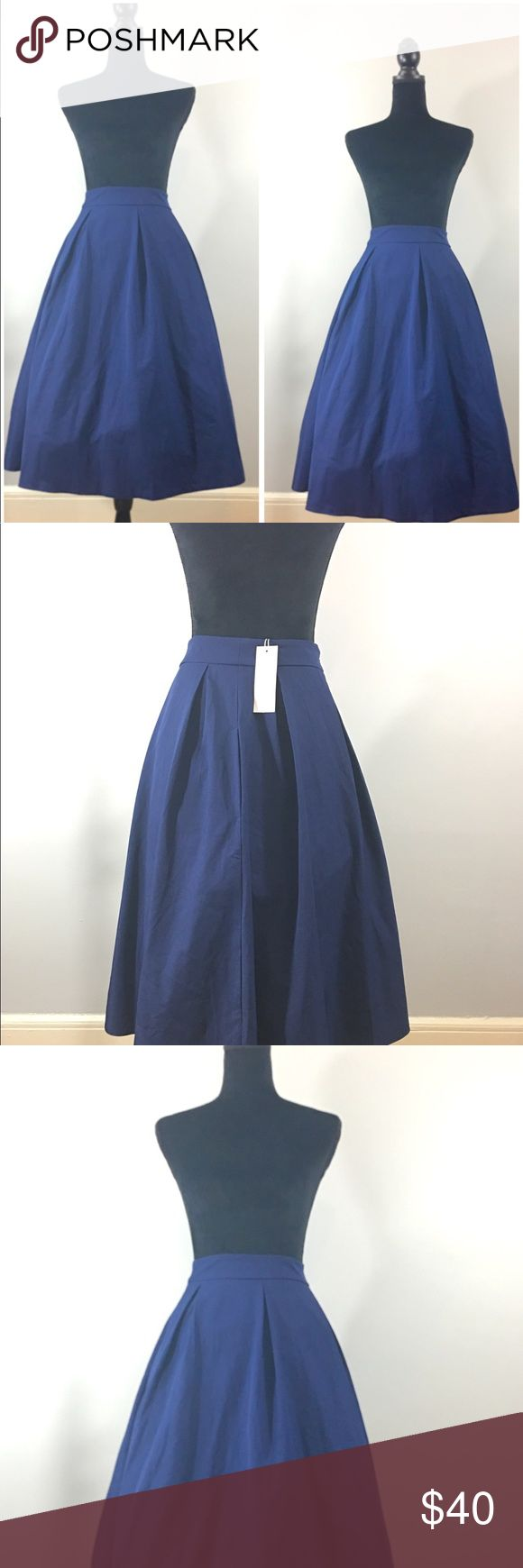 Navy Blue Midi Skirt Rockabilly Size Medium.