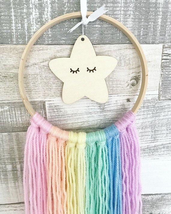 Rose Pink Hoop Star Wall Hanger Mobile, Baby Wall Mobile, Nursery Mobile, Pastel Nursery, Rainbow Baby, Girls Nursery, Girls Bedroom Decor