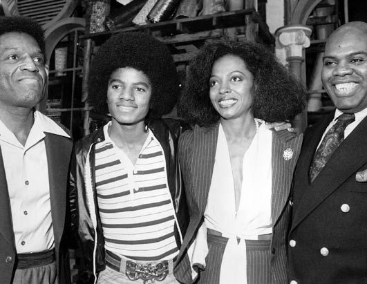 From the film version of The Wiz, the four stars, Nipsey Russell, Michael Jackson, Diana Ross, & Ted Ross. 1978.