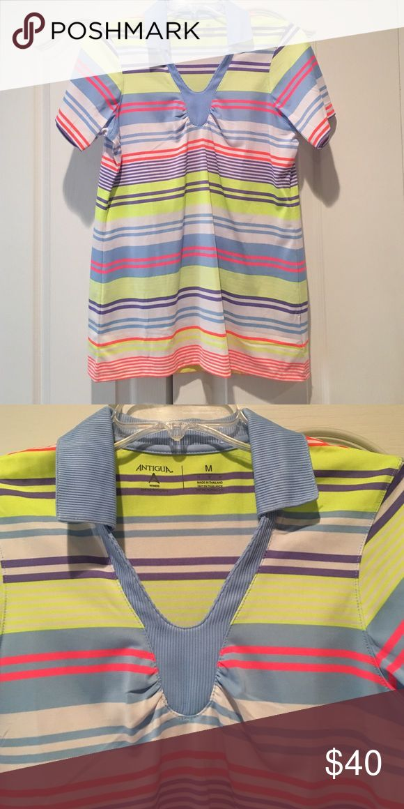 Golf shirt NWOT Collared desert dry golf shirt. Light blue, purple, bright yellow, and hot pink stripes. ❗️Bundle with any golf attire for awesome discount ⛳️ Antigua Tops