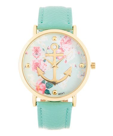 Mint Floral Anchor Strap Watch sooo sweet! Shabby chic, meet nautical! love this.