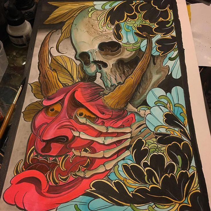 Today's painting #tattoo#tattooart#tattoopainting#japaneseart#japanesetattoo#orientalart#orientaltattoo#asianart#asiantattoo#brighton#brightontattoo#