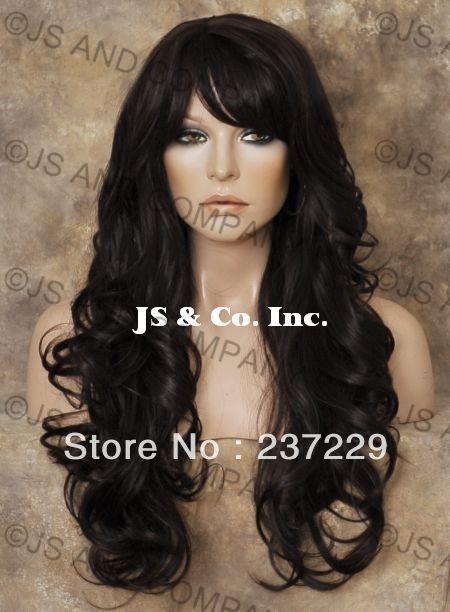 Оптовая продажа цена бесплатная доставка ^^^^ тепло сейф волосы смесь тепло ок парик темно-каштановый длинные волнистые WBNY