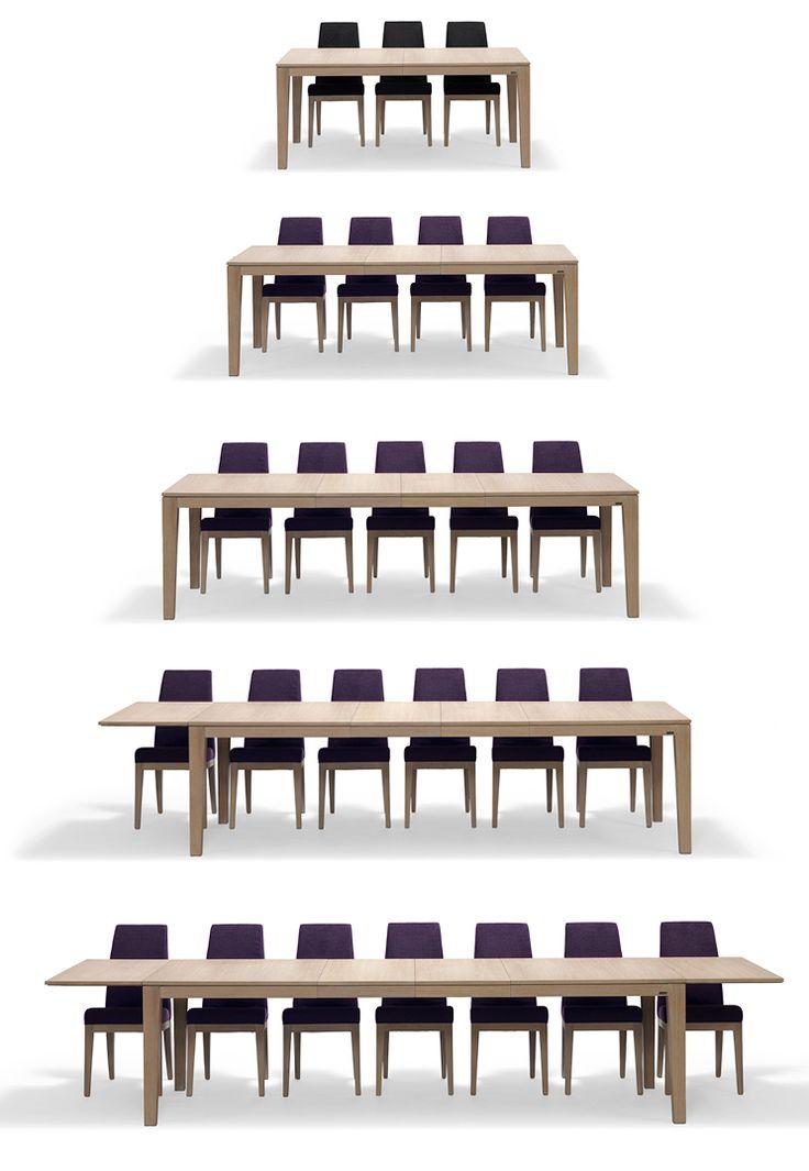 Spisegruppe - noen få eller mange rundt bordetAannø® 3000 spisestueBord + 6 stoler i stoff sublim lilla, hvitoljet eik