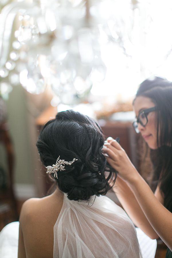 wavy updo // photo by Sandy Tam // http://ruffledblog.com/ontario-vintage-handmade-wedding