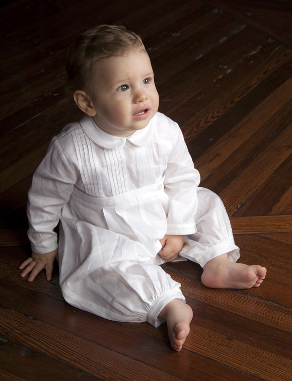 Kissy Kissy offers multiple groups of infantwear with the kind of clean, traditional patterns and soft colors that work in any style fine children's boutique. In addition, their line of christening garments is exquisite. Here, from the Besos' group, a boy's christening outfit that epitomizes fine taste and workmanship. www.kissykissyonline.com (designer's preview)