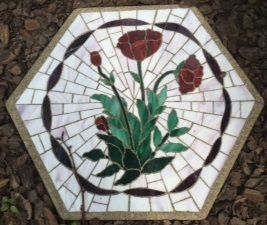 "Roses with Ribbon Boarder 16"" Stained Glass Garden Stone"