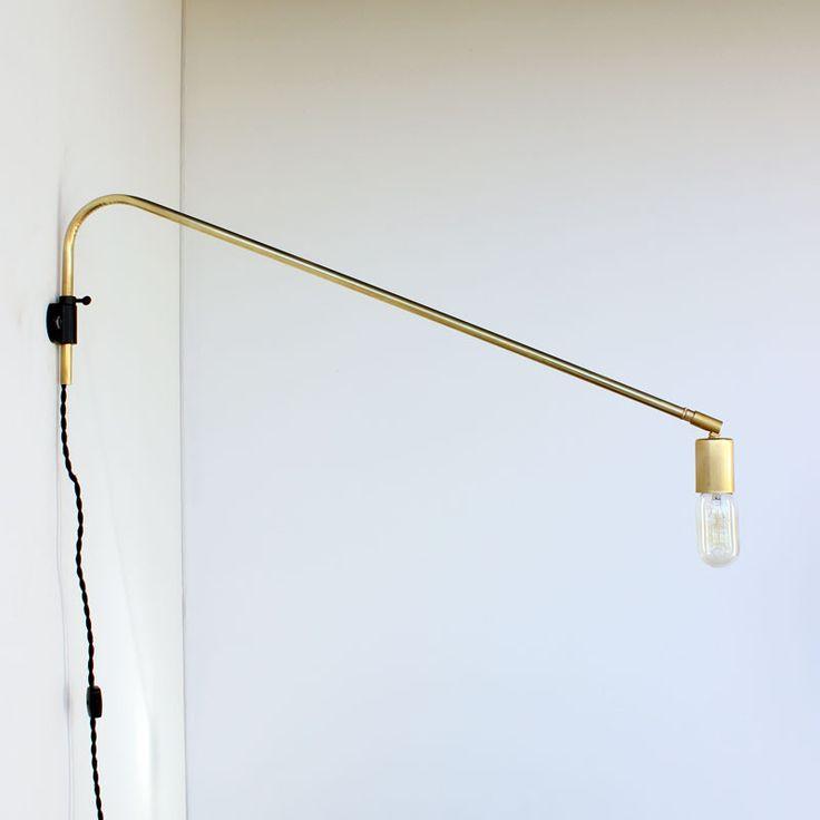 Brass swing arm wall lamp by Logan Hendrikson