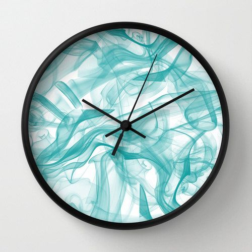 Unique Wall Clock Teal Clock Turquoise Clock by DesignbyJuliaBars