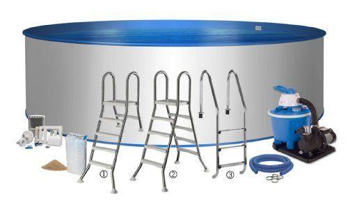 Pool Premium Rundform Ø 5,00m x 1,20m 0,8mm Folie & 0,6mm Stahlmantel mit Sandfilteranlage Flow 5 mit 5,5m³/h Edelstahlleiter für alle Aufbauvarianten frei wählbar Schlauch-Set Skimmer und Einströmdüse