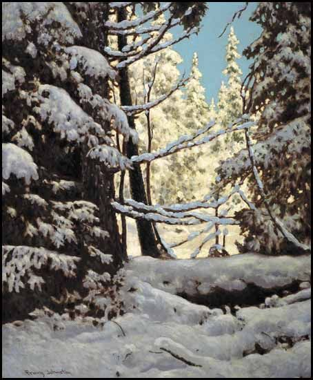 """Snow Laden, Northern Ontario,"" Frank Hans (Franz) Johnston, oil on board, 24 x 19 3/4"", private collection."