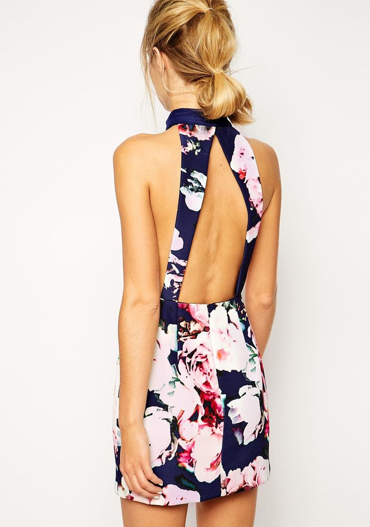 #SALE Blue Halter Backless Floral Print Dress $19 Shop the #SALE at #Sheinside