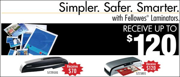 #Save up to $120 on select #Fellowes Laminators. Offer valid until September 30, 2013.