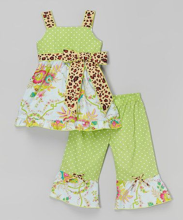 Love this Green & Pink Cici Tunic & Pants - Infant, Toddler & Girls on #zulily! #zulilyfinds
