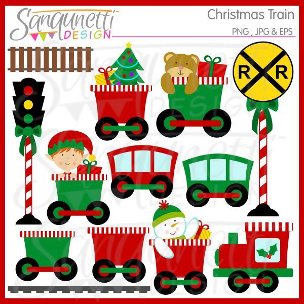 Christmas Train Clipart includes a variety of trains in red and green carrying bears, elves, snowmen and other things, a railroad sign, track.  Would be great for holiday greeting cards, parties, printables and great for teachers and classroom use as well.