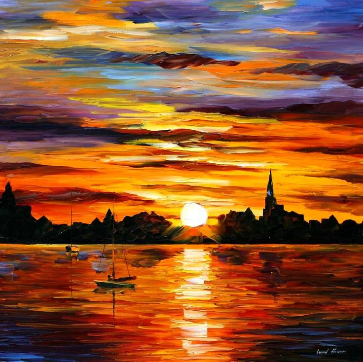 Sunset Paintings by Famous Artists | CORSICA — SUNSET — PALETTE KNIFE Oil Painting On Canvas By Leonid ...