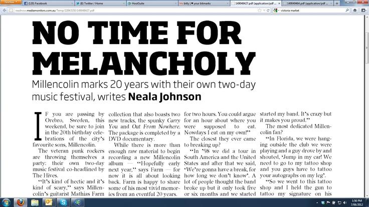 Courier Mail feature part 1 June 7 2012