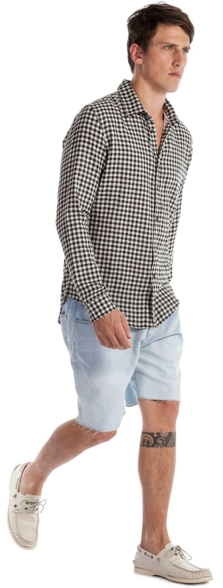 Osklen Bermuda Jeans Masculina Faded e Camisa Masculina Xadrez Mini Vichy ML