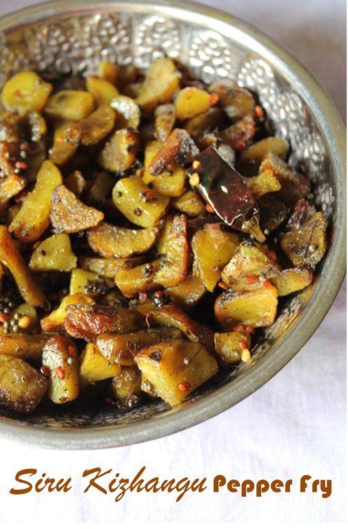 Siru Kizhangu Pepper Fry Recipe / Siru Kizhangu Poriyal Recipe / Chinese Potato Fry Recipe
