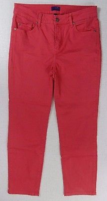 Not Your Daughters Jeans NYDJ Size 10 Pink Red Skinny Stretch Jeans Pants