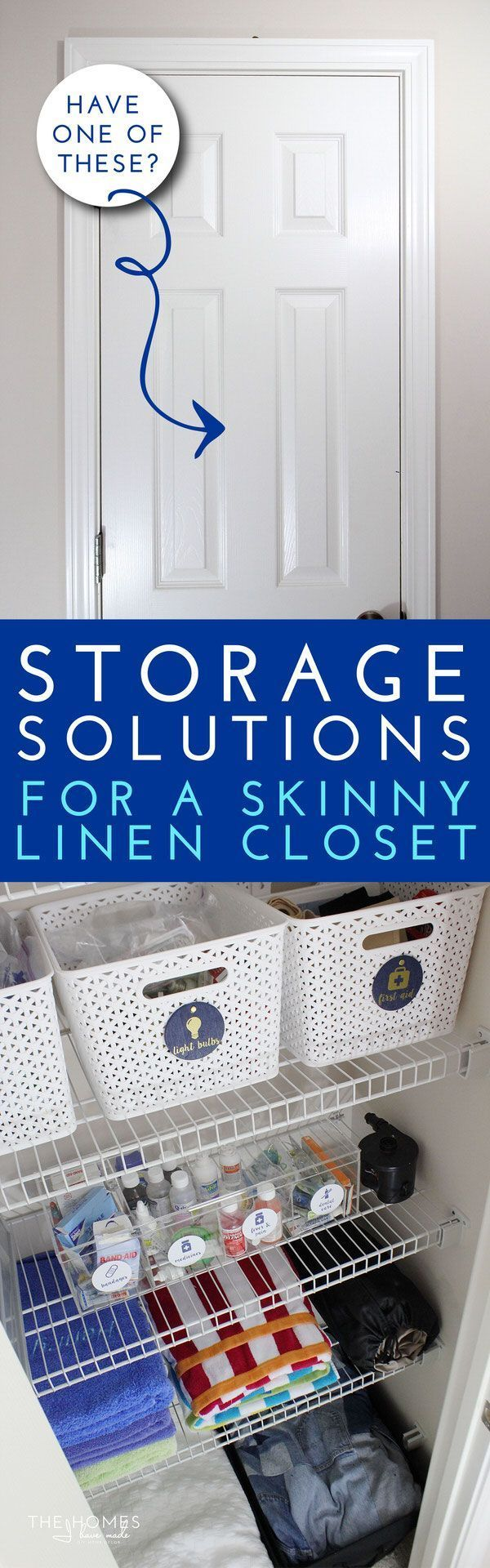 Make the most of every inch you have in your linen closet by using these smart and savvy storage solutions for table linens, batteries, medicine, towels, blankets and more!