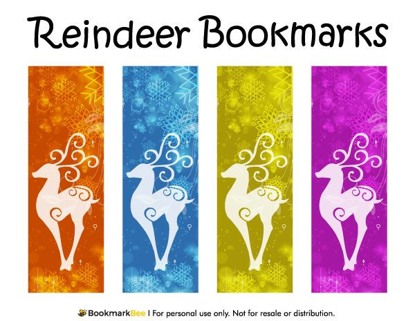 Free printable reindeer bookmarks for christmas and winter download the pdf template at http for Printable bookmarks pdf