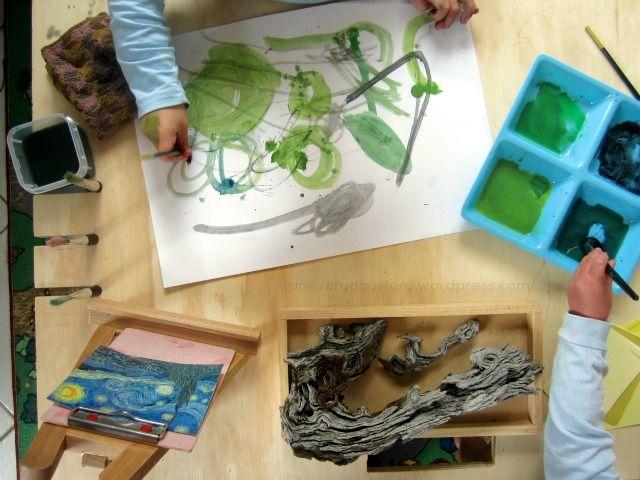 Reggio art activities - finding art in nature - Van gogh Starry Night