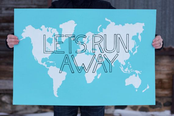 LET'S RUN AWAY Giant Modern World Map Print Poster - 24x36 - Sky Blue and White on Etsy, $55.00