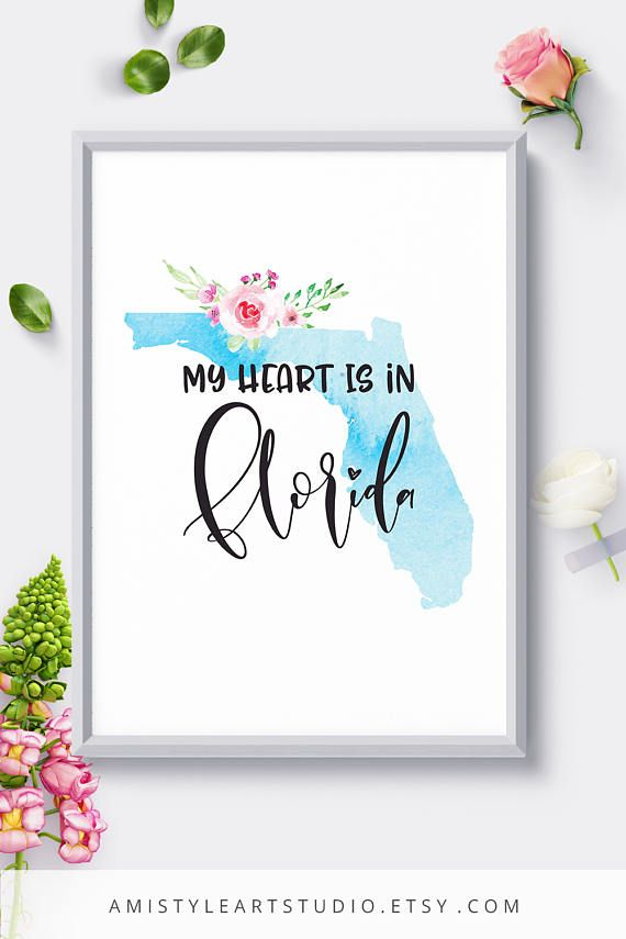 Map Print Florida Silhouette with watercolor background and floral design.This printable wall hanging is perfect as a housewarming or anniversary gift. By Amistyle Art Studio on Etsy
