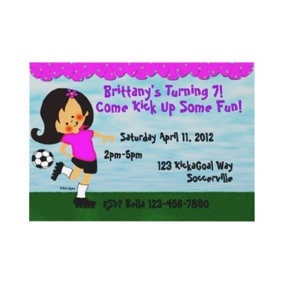 #Soccer #Party Invitation.   Little #girl kicking a soccer ball is a cute birthday party invitation that can be. personalized for a soccer party invitation or birthday or end of season soccer parties.