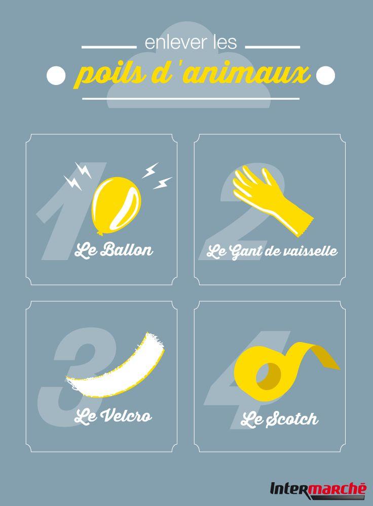 #Astuce : enlever les poils d'animaux.  1) L'électricité statique d'un ballon de baudruche.2) L'adhérence des gants de vaisselle. 3) L'efficacité du velcro4) Le collant du scotch !