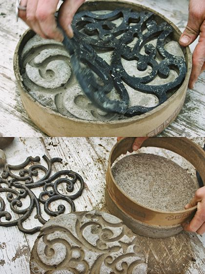 Use rubber mat as stencil to paint stone