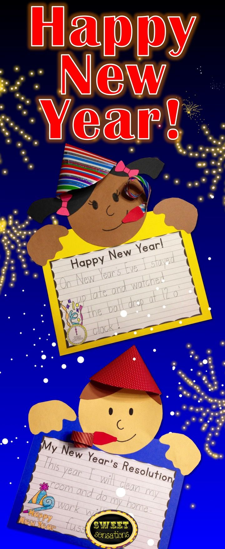 Happy New Year! Students can write their resolutions or about how they celebrated the New Year. Fun activity for the first day back after winter break! $4