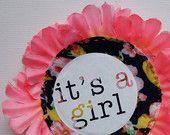 NEW BABY  'it's a girl' pIN BADGE by dAKOTA rAE dUST