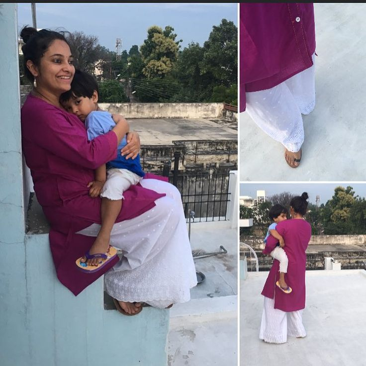 A bright coloured low back angarkha styled kurta paired with a white scalloped hem palazzo. A perfect pairing for an evening of fun with family#ootd #potd #indiandressing #indian #india #photo#picoftheday #fashion#momslife#mamaandbaby#mommyandbaby#silverearrings#momsofinstagram#instamon