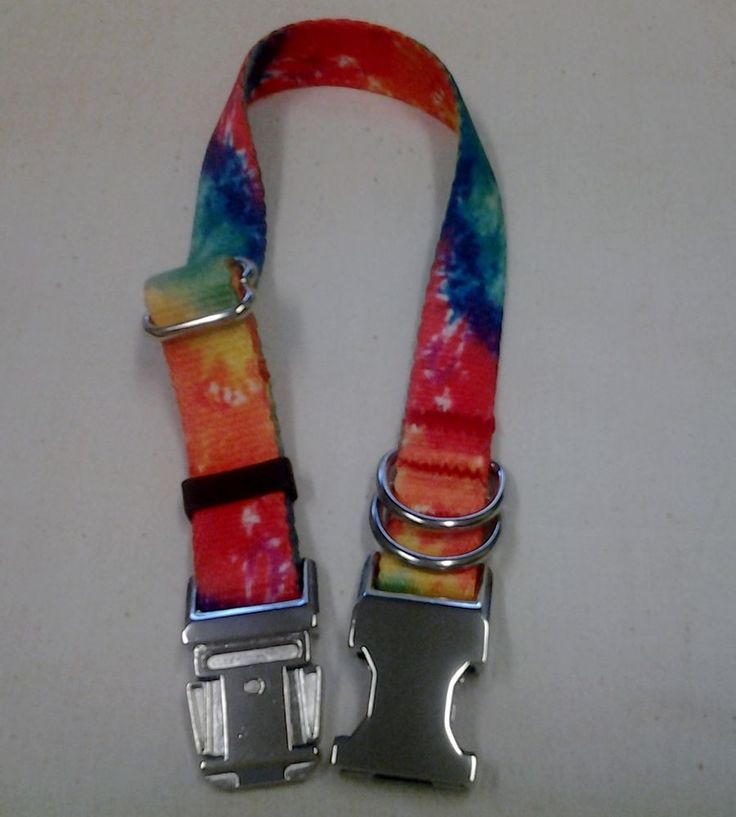 COLLAR & LEAD SET - TIE-DYE PATTERN W METAL BUCKLE & MATCHING LEAD