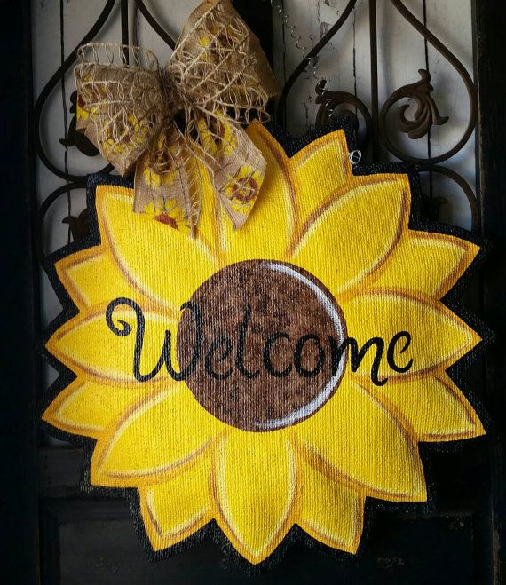 Check out this item in my Etsy shop https://www.etsy.com/listing/239682016/summer-and-fall-sunflower-burlap-door