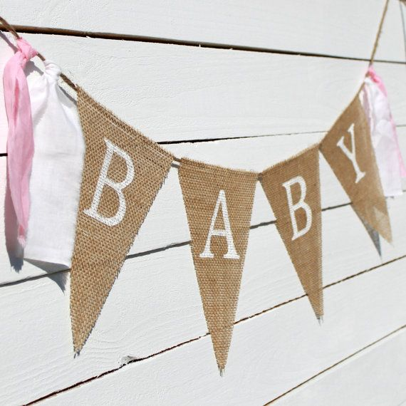 Shabby Chic Baby Burlap Banner Photography Prop Baby Shower Decoration on Etsy, $16.00