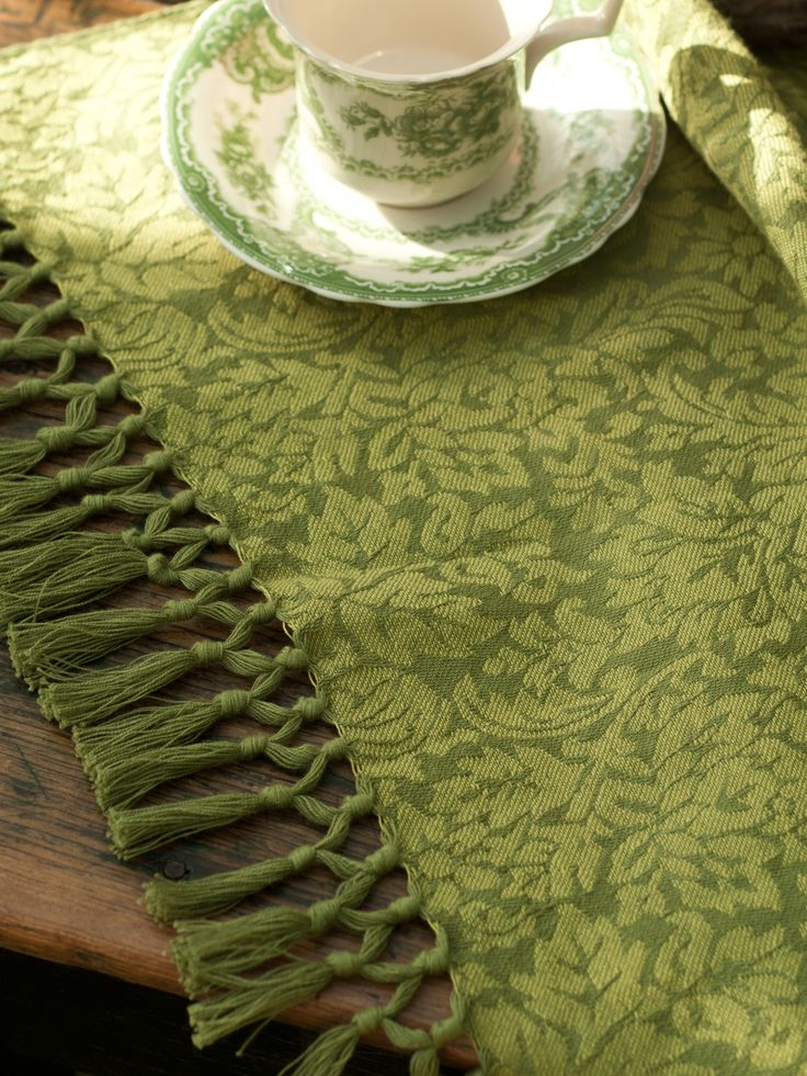 Melody Jacquard Tablecloth Green | Designs by April Cornell
