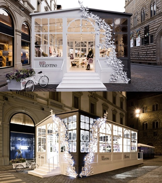 ☼ REDValentino Pop Up Greenhouse Store, Florence 2011 Butterfly Wall Installation