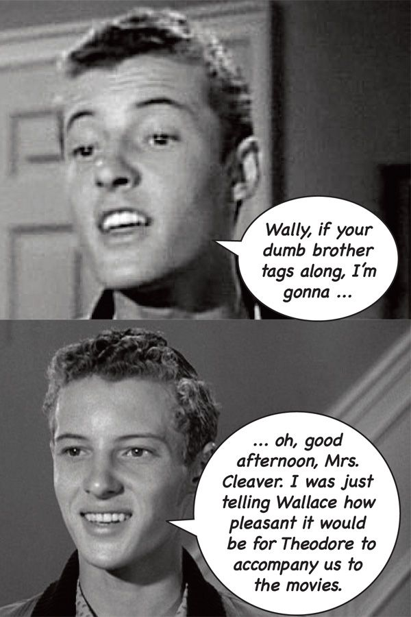 "Eddie Haskell, the ultimate two-faced teenager from ""Leave It To Beaver."""
