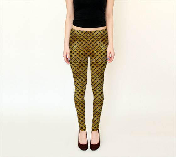Mermaid Gold Leggings - Available Here: http://artofwhere.com/shop/product/53553