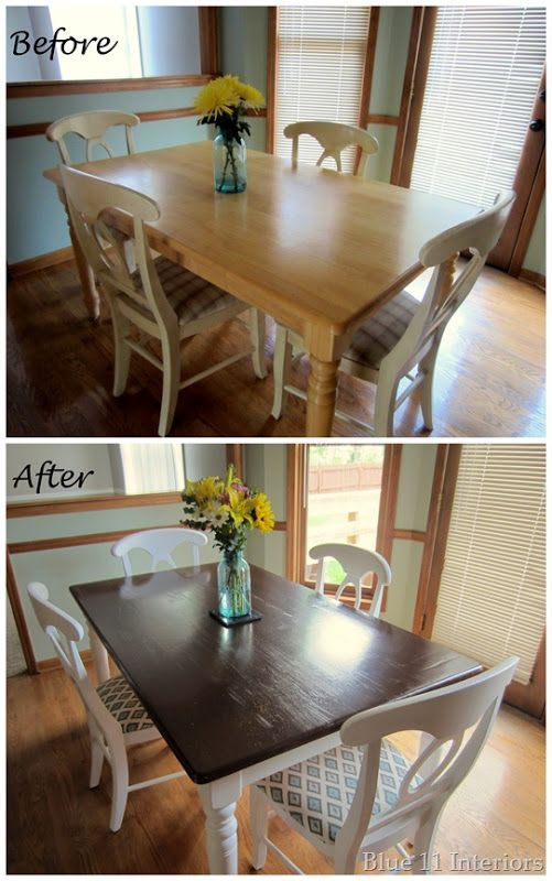 Dining Table Makeover Before And After Dark Top With Light White Legs Love This Look