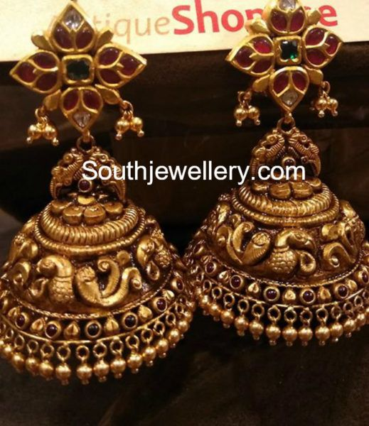 Antique Gold Nakshi Jhumkis photo